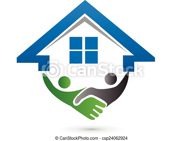 House and handshaking vector image concept of closing a successf - csp24062924