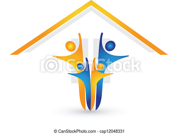 House and happy family logo vector  - csp12048331