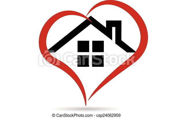House and heart  vector logo - csp24062959