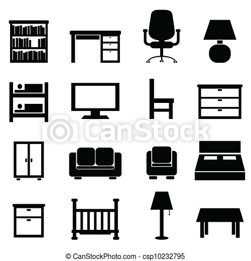 furniture set clipart black and white. house and office furniture - csp10232795 set clipart black white t