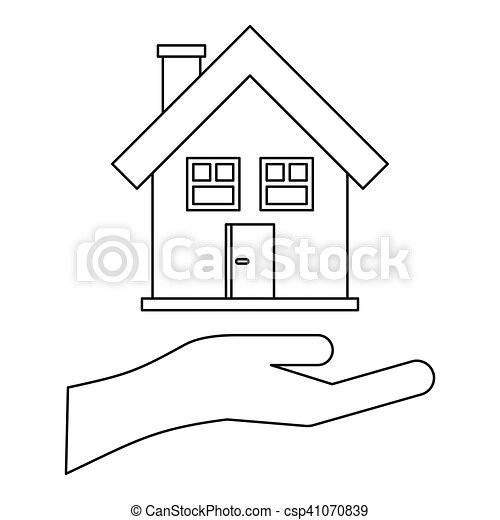 House and palm icon, outline style - csp41070839