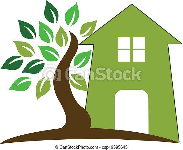 House and tree logo - csp19595645