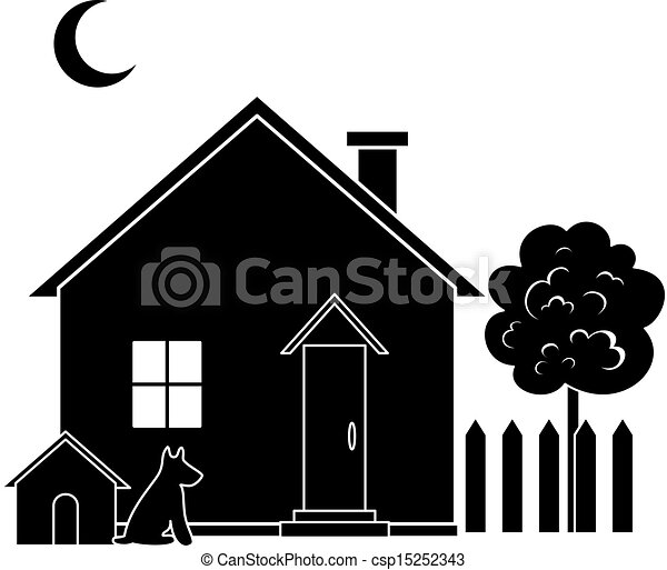 house and tree silhouette house with dog kennel and tree eps rh canstockphoto com opera house silhouette vector house silhouette vector free download