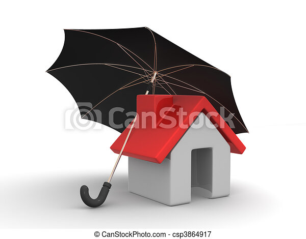 House and Umbrella - csp3864917