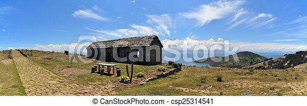 House at Lake Titicaca between Bolivia and Peru - csp25314541