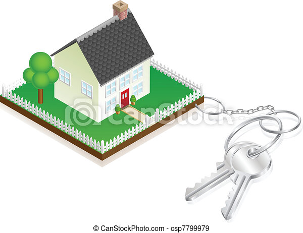 House attached to keys as keyring - csp7799979