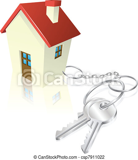 House attached to keys as keyring - csp7911022