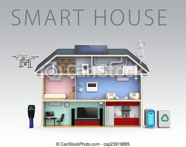 House automation concept smart house and energy saving appliances for home automation concept - Home automation energy saving ...