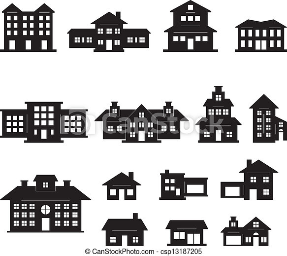 black and white apartment building clip art. House Black And White Set 2 Vector and set EPS 10 vector clipart  Search