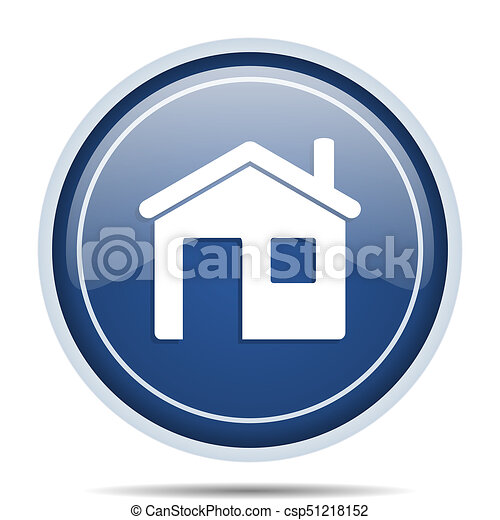 House blue round web icon. Circle isolated internet button for webdesign and smartphone applications. - csp51218152