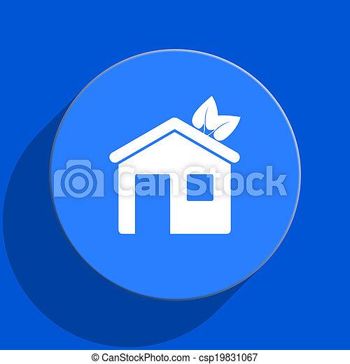house blue web flat icon - csp19831067