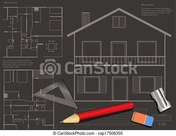 House blueprint background house construction blueprint clipart house blueprint background csp17506355 malvernweather Image collections