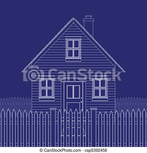House blueprint blue print of a basic small house clip art vector house blueprint csp5392456 malvernweather Gallery