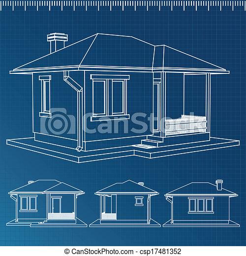 Vector house blueprint house blueprint csp17481352 malvernweather Gallery