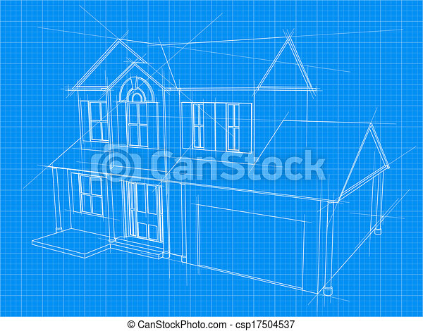 House blueprint an illustration of a blueprint for an new house house blueprint csp17504537 malvernweather Images