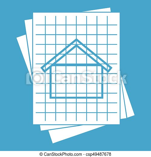 House blueprint icon white isolated on blue background vector house blueprint icon white csp49487678 malvernweather Image collections