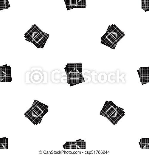 House blueprint pattern seamless black house blueprint pattern house blueprint pattern seamless black csp51786244 malvernweather Image collections