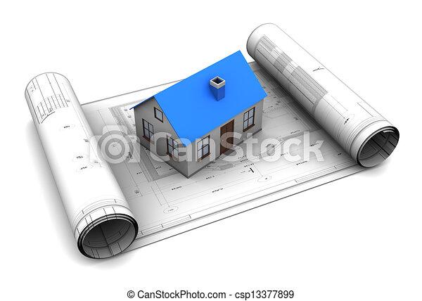 House bluerints 3d illustration of house model on blueprint 3d illustration of house model on blueprint roll malvernweather Choice Image