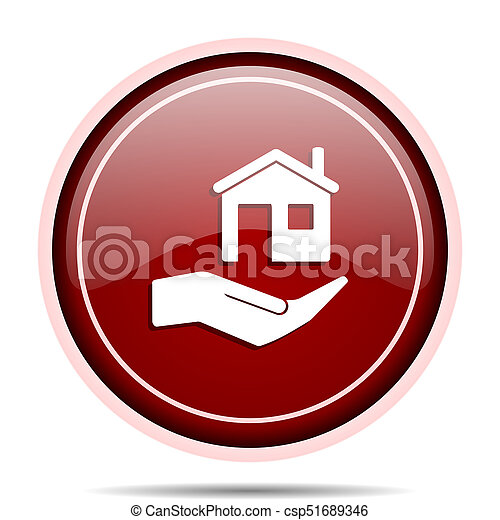 House care red glossy round web icon. Circle isolated internet button for webdesign and smartphone applications. - csp51689346