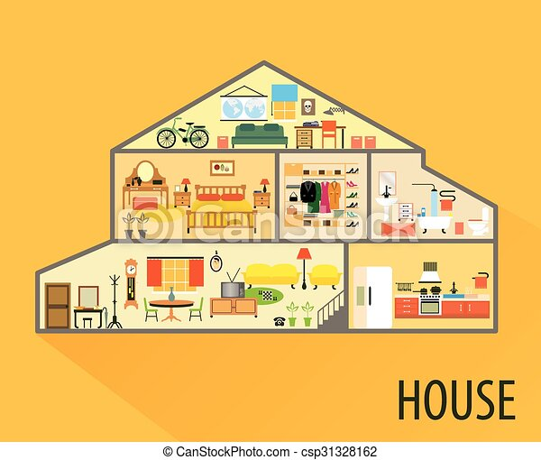 House cartoon interior. rooms with furniture. . House ...