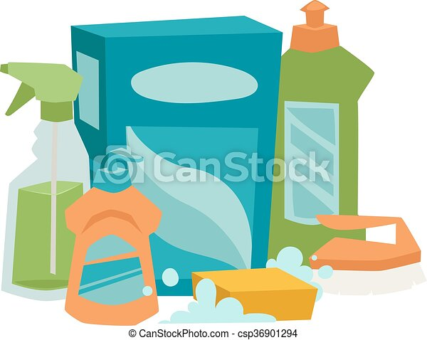 House cleaning hygiene and products flat vector icons set - csp36901294