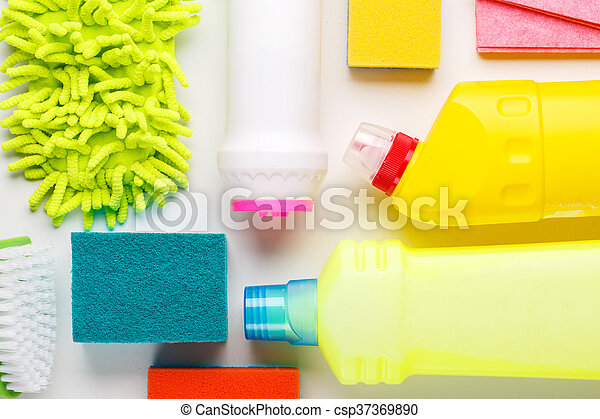 House cleaning products on white table - csp37369890