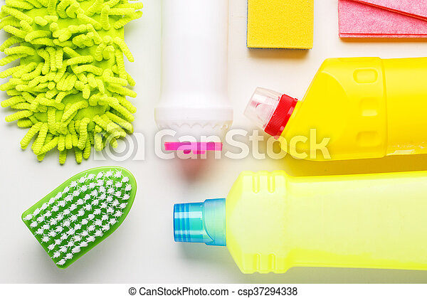 House cleaning products on white table - csp37294338