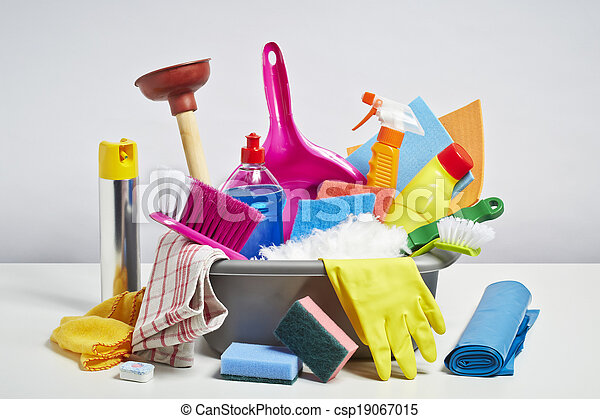 House cleaning products pile on white background - csp19067015