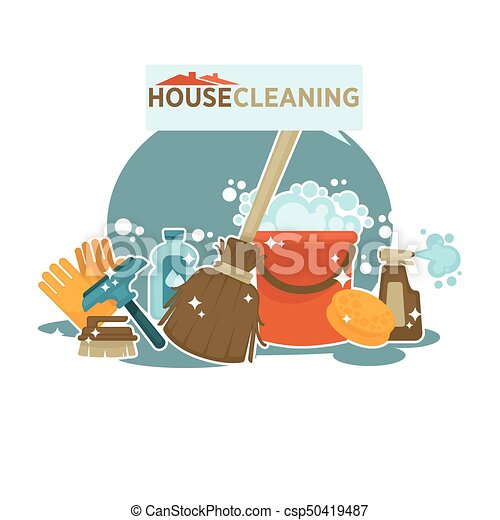 House cleaning service promotional emblem isolated cartoon illustration - csp50419487