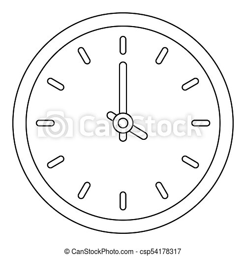 House clock icon, outline style. - csp54178317