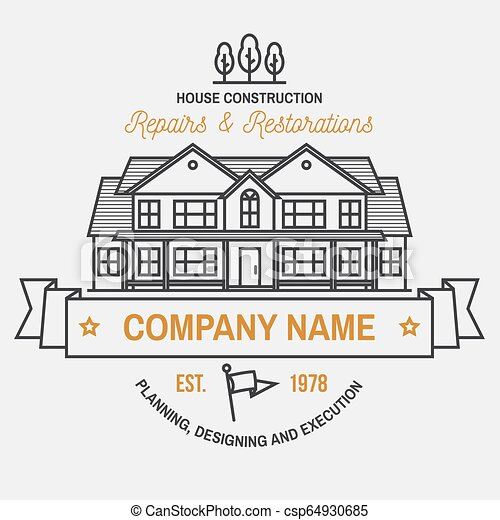 House Construction Company Identity With Suburban American House Vector Illustration Thin Line Badge Sign For Real Estate Canstock