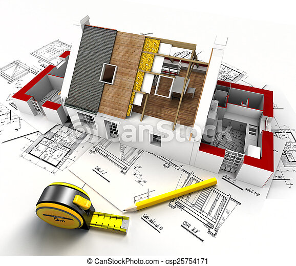House construction overview - csp25754171