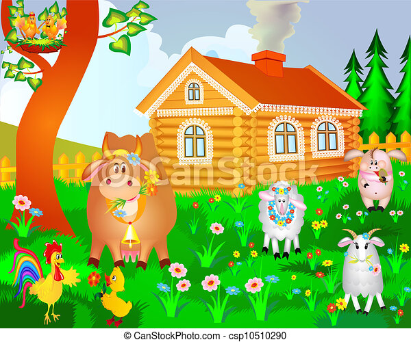 House Cow Pig Birds And Sheep