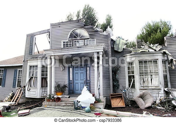 House damaged by disaster - csp7933386