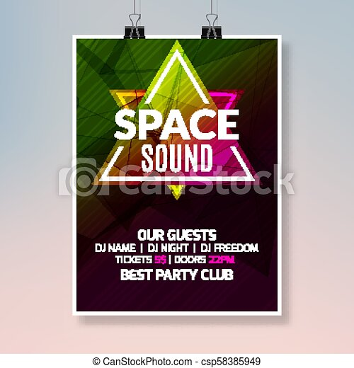House Dance Music Poster Music Party Flyer Banner Design Disco Night Club Event Template
