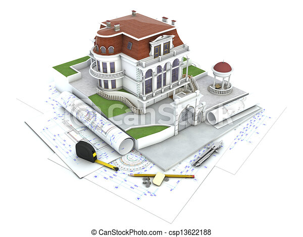 House Design Progress Architecture Drawing And Visualization Stock Illustration