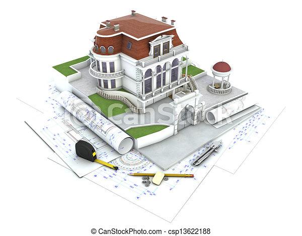 House Design Progress Architecture Drawing And Visualization Stock Illustration