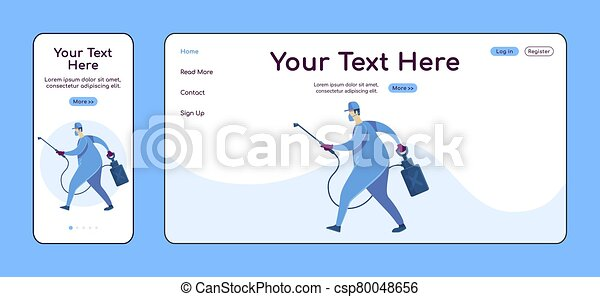 House disinfection adaptive landing page flat color vector template. Cleaning service mobile and PC homepage layout. Repairman one page website UI. Home repairs webpage cross platform design - csp80048656