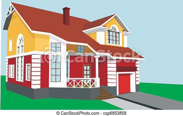 Beautiful Two Story House With A Porch And Garage Vector