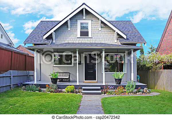 House Exterior Entrance Porch And Front Yard View Small Old