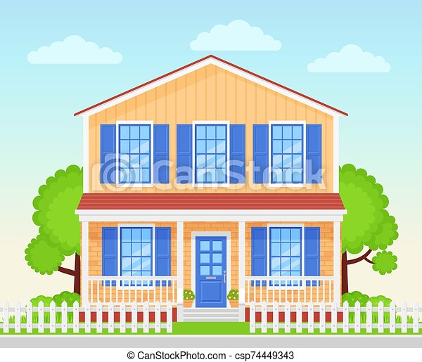 House Exterior Front View Vector Illustration Flat Design House Exterior Vector Home Facade Porch Front View Townhouse