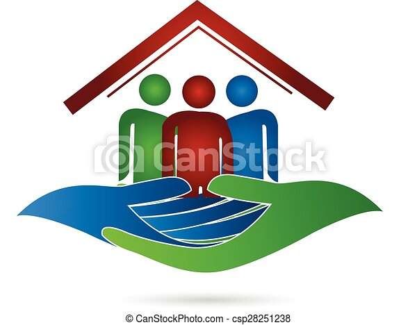 House family protection hands logo  - csp28251238