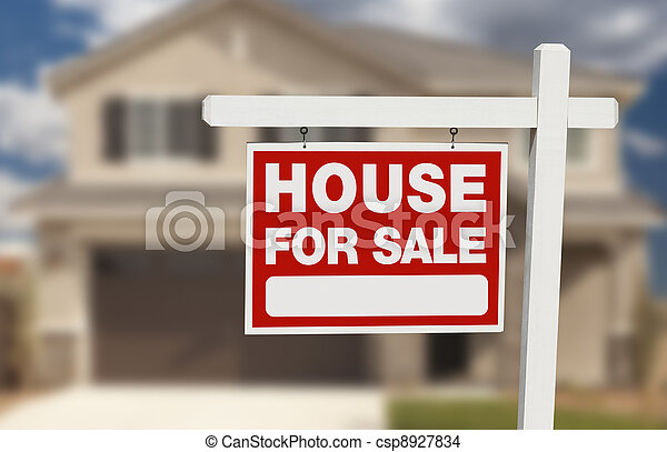 House For Sale Real Estate Sign and New Home - csp8927834