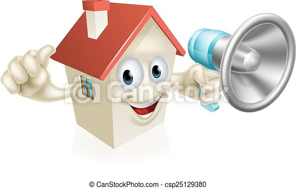 House Holding Megaphone - csp25129380