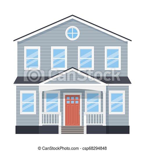House Home Facade Vector Illustration In Flat Design House Front View Vector Home Facade Building Exterior With Door