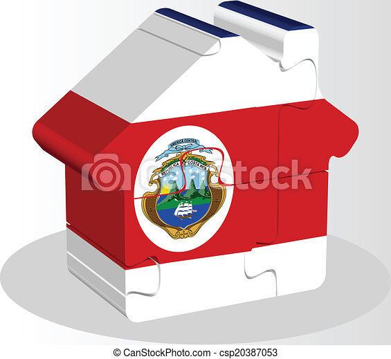 house home icon with Costa Rica flag in puzzle - csp20387053
