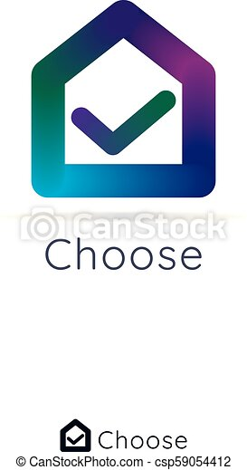 House home logo. check mark in center. simple logo with 3d color. - csp59054412