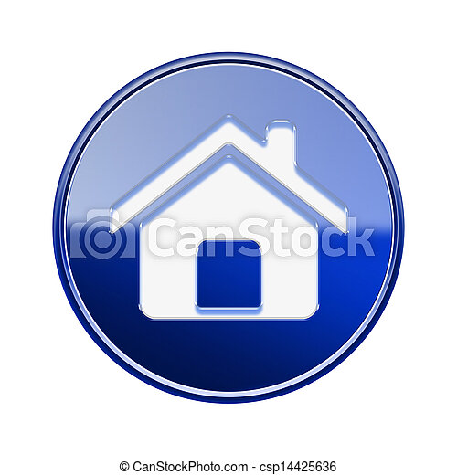 House icon glossy blue, isolated on white background - csp14425636