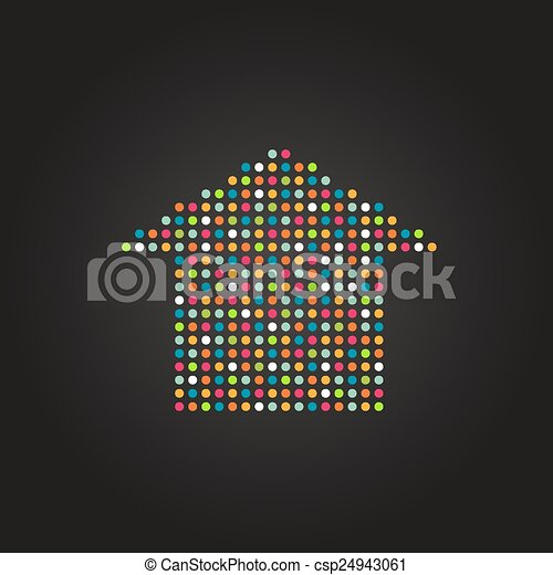 House icon made from dots - csp24943061
