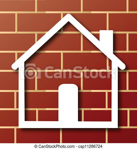 House Icon With Brick Wall Logo House Icon With Brick